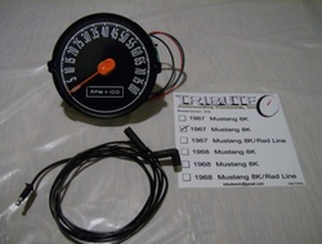 Tribute Automotive Products 1967 8,000 RPM red line Mustang tachometer